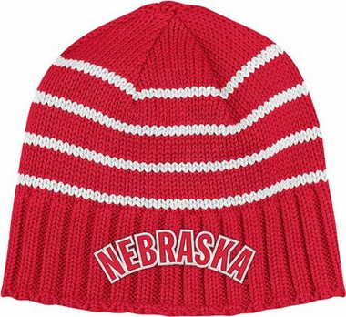Nebraska Vault Striped Cuffless Knit Hat