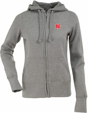 Nebraska Womens Zip Front Hoody Sweatshirt (Color: Silver)