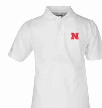 Nebraska YOUTH Unisex Pique Polo Shirt (Color: White)