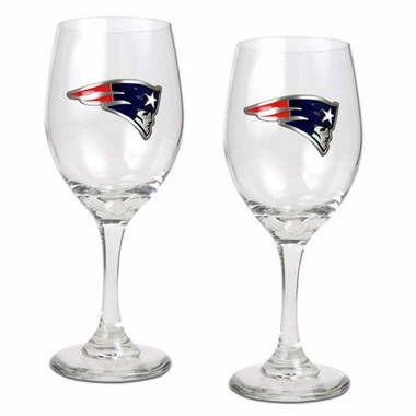 New England Patriots 2 Piece Wine Glass Set