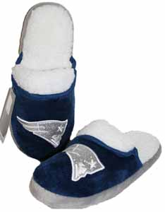 New England Patriots 2012 Womens Team Color Sherpa Glitter Slippers - X-Large