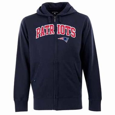 New England Patriots Mens Applique Full Zip Hooded Sweatshirt (Color: Navy)
