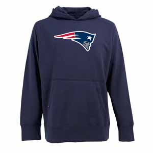 New England Patriots Big Logo Mens Signature Hooded Sweatshirt (Color: Navy) - Large