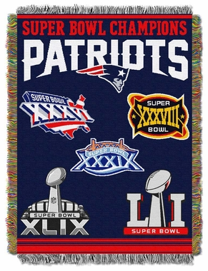 New England Patriots Commerative Jacquard Woven Blanket