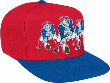 New England Patriots Mitchell & Ness NFL Triple Stack Logo Snap Back Hat