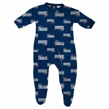 New England Patriots NFL Infant Footed Raglan Zip Up Sleeper