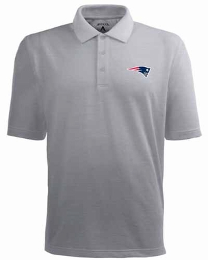 New England Patriots Mens Pique Xtra Lite Polo Shirt (Color: Gray)