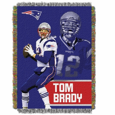 New England Patriots Tom Brady Jacquard Woven Blanket