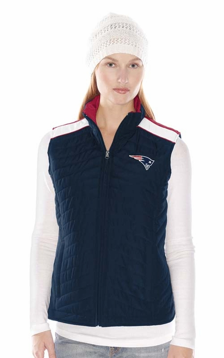 New England Patriots Women s G-III Rundown Full Zip Quilted Vest Jacket 4eca944a1