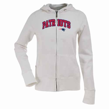 New England Patriots Applique Womens Zip Front Hoody Sweatshirt (Color: White)