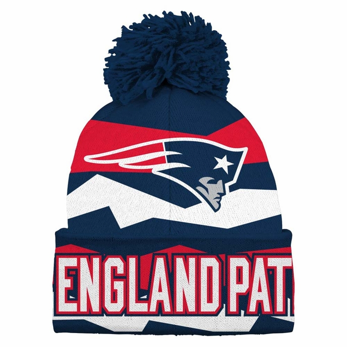 New England Patriots Youth Flex Jacquard Cuffed Knit Hat w  Pom 499708304