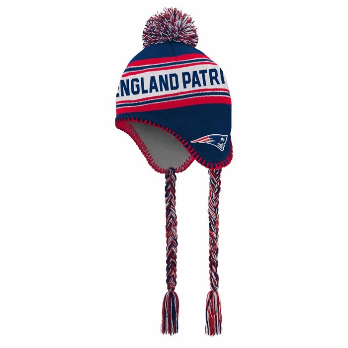 New England Patriots Youth Striped Jacquard Tassel Knit Hat w  Pom 885e75aec