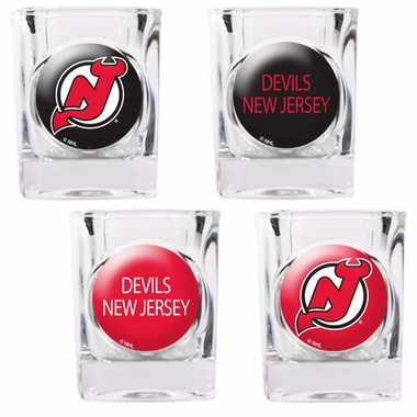 New Jersey Devils 4 Piece Assorted Shot Glass Set