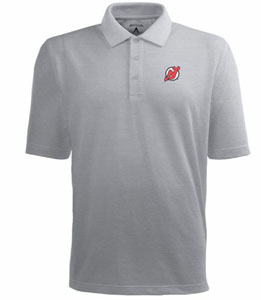 New Jersey Devils Mens Pique Xtra Lite Polo Shirt (Color: Gray) - Small