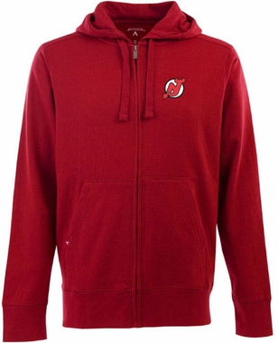 New Jersey Devils Mens Signature Full Zip Hooded Sweatshirt (Color: Red)