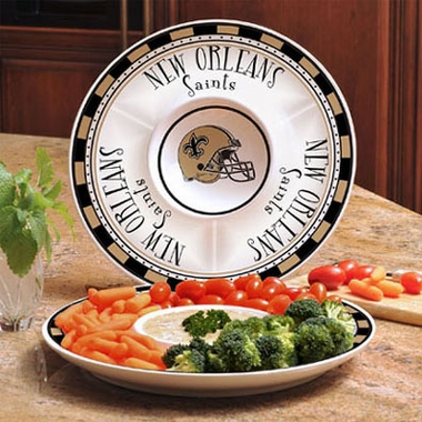 New Orleans Saints Ceramic Chip and Dip Plate