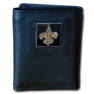 New Orleans Saints Leather Trifold Wallet (F)