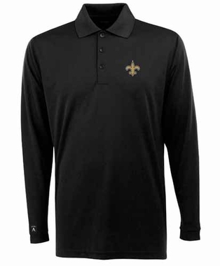 New Orleans Saints Mens Long Sleeve Polo Shirt (Color: Black)