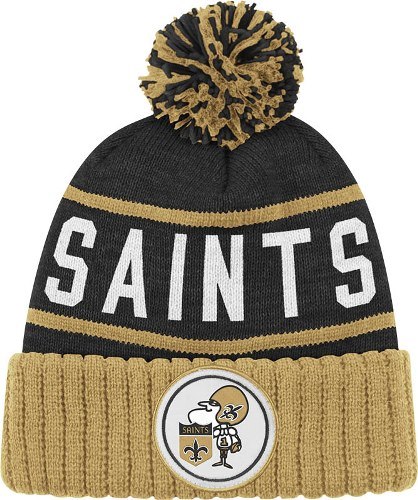 29f1d9006af0c france new orleans saints mitchell ness nfl high 5 cuffed knit hat w pom  black 8c909