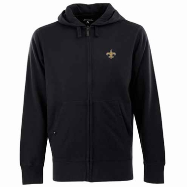 New Orleans Saints Mens Signature Full Zip Hooded Sweatshirt (Color: Black)