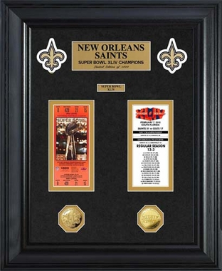 New Orleans Saints New Orleans Saints Super Bowl Ticket and Game Coin Collection Framed