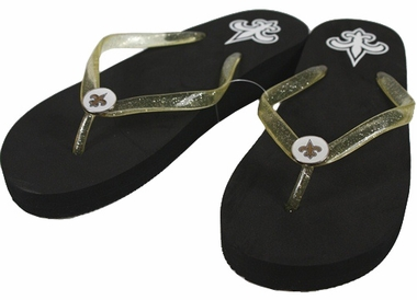 New Orleans Saints Wedge Flip Flops