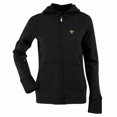 New Orleans Saints Womens Zip Front Hoody Sweatshirt (Color: Black)