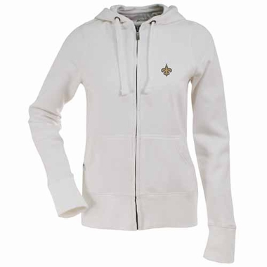 New Orleans Saints Womens Zip Front Hoody Sweatshirt (Color: White)