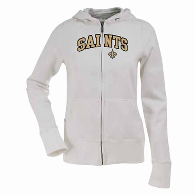 New Orleans Saints Applique Womens Zip Front Hoody Sweatshirt (Color: White)