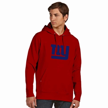 New York Giants Mens Big Logo Signature Hooded Sweatshirt (Color: Red) - Small