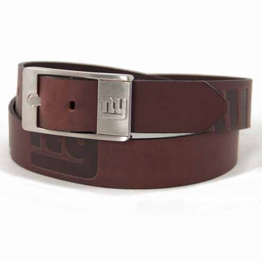 New York Giants Brown Leather Brandished Belt