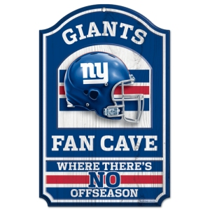 "New York Giants Wood Sign - 11""x17"" Fan Cave Design"