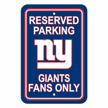 New York Giants Plastic Reserved Parking Sign (P)