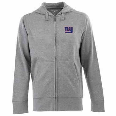 New York Giants Mens Signature Full Zip Hooded Sweatshirt (Color: Silver)