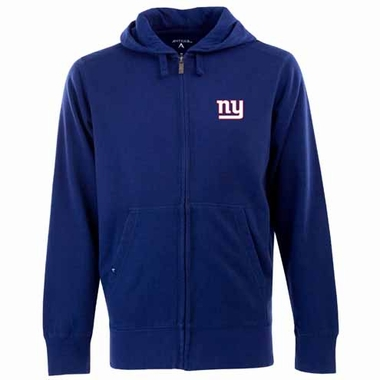 New York Giants Mens Signature Full Zip Hooded Sweatshirt (Color: Blue)