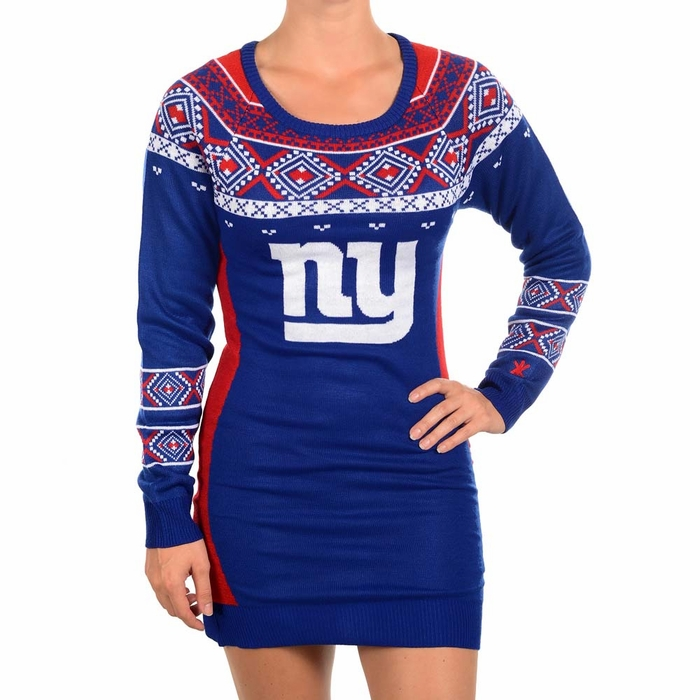 New York Giants Womens Big Logo Ugly Sweater Dress 218387814e