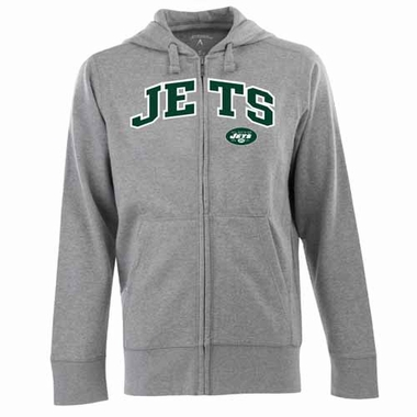 New York Jets Mens Applique Full Zip Hooded Sweatshirt (Color: Silver)