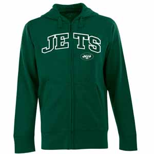 New York Jets Mens Applique Full Zip Hooded Sweatshirt (Color: Green) - Large