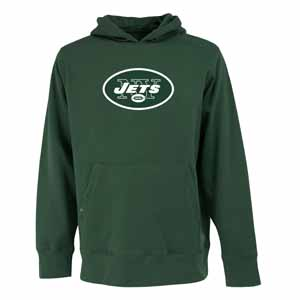 New York Jets Big Logo Mens Signature Hooded Sweatshirt (Color: Green) - Small