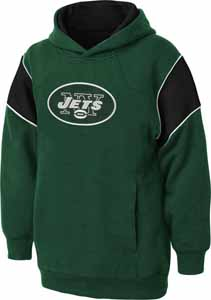New York Jets NFL YOUTH Color Block Pullover Hooded Sweatshirt - Medium