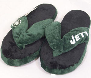 New York Jets Plush Thong Slippers - Medium