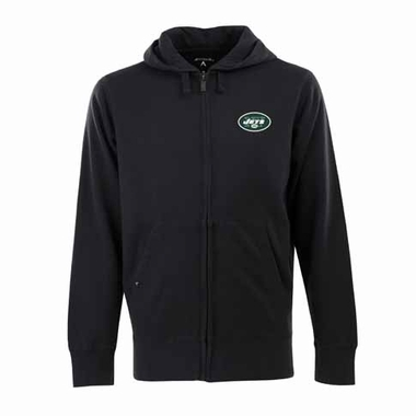 New York Jets Mens Signature Full Zip Hooded Sweatshirt (Color: Black)