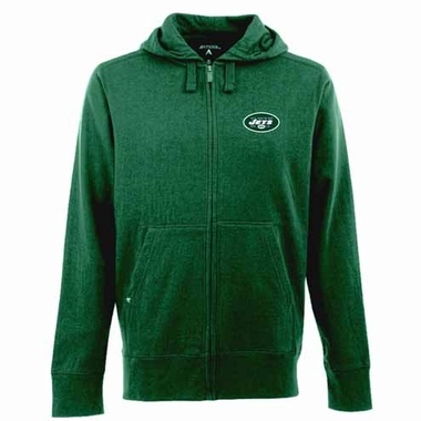 New York Jets Mens Signature Full Zip Hooded Sweatshirt (Color: Green)