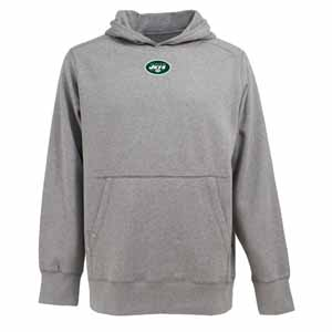 New York Jets Mens Signature Hooded Sweatshirt (Color: Gray) - Small