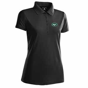 New York Jets Womens Pique Xtra Lite Polo Shirt (Color: Black) - Large
