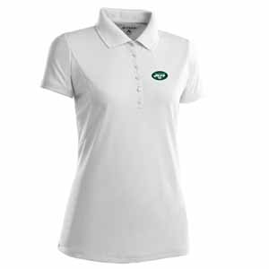 New York Jets Womens Pique Xtra Lite Polo Shirt (Color: White) - Large