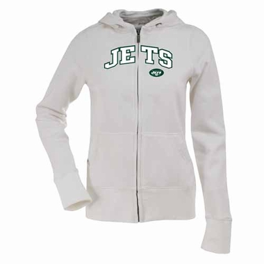New York Jets Womens Applique Zip Front Hoody Sweatshirt (Color: White)