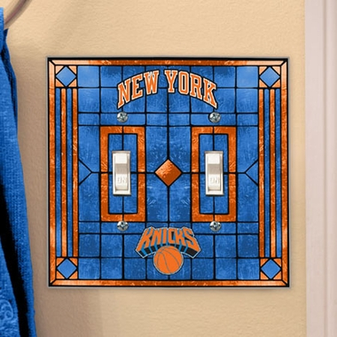 New York Knicks Art Glass Lightswitch Cover (Double)