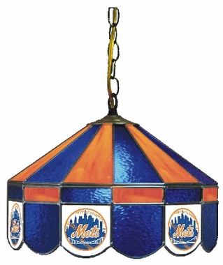 New York Mets 16 Inch Diameter Stained Glass Pub Light