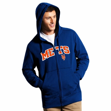 New York Mets Mens Applique Full Zip Hooded Sweatshirt (Color: Royal)